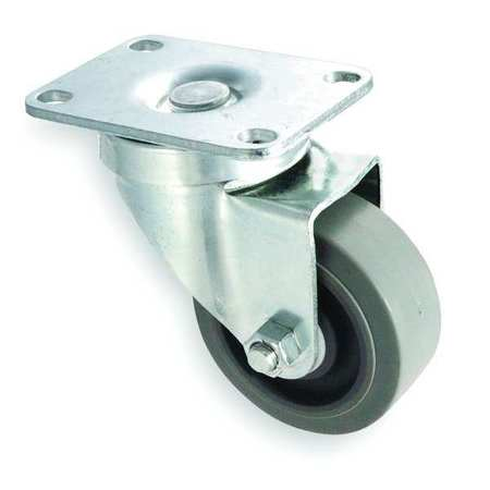 Swivel Plate Caster, Rubber, 3 in, 200 lb, C