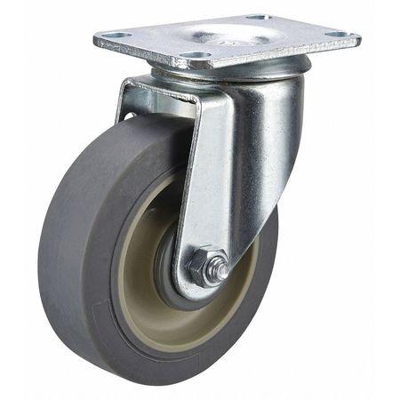 Swivel Plate Caster, Rubber, 3-1/2 in, 250 lb, C