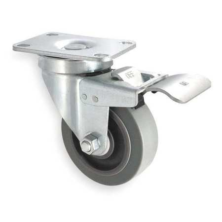 Swivel Plate Caster, Rubbr, 3 in., 200 lb, C