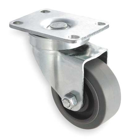 Swivel Plate Caster, Rubber, 4 in., 250 lb.