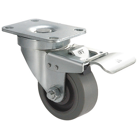 Swivel Plate Caster, Rubber, 4 in, 250 lb, C