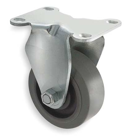 Rigid Plate Caster, Rubber, 3 in, 200 lb, C