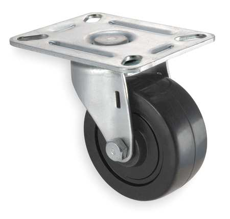 Swivel Plate Caster, Rubber, 3 in., 125 lb.