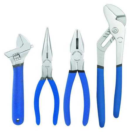 Plier and Wrench Set, Dipped, 4 Pcs.