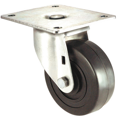 Swivel Plate Caster, Rubber, 4 in., 200 lb.