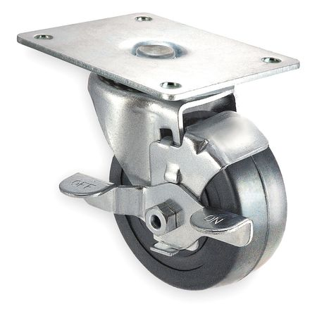 Swivel Plate Caster, Rubber, 3 in, 125 lb, A