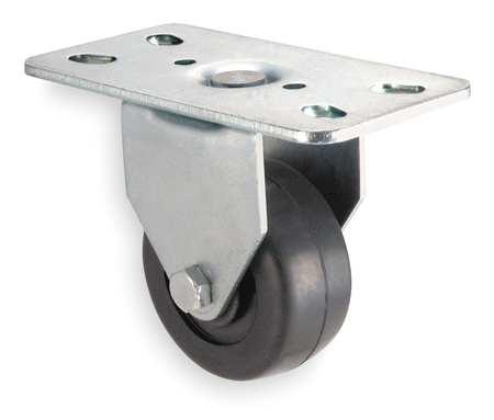 Rigid Plate Caster, Rubber, 3 in., 125 lb.