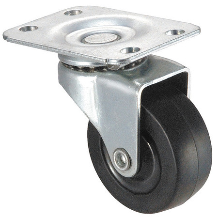 Swivel Plate Caster, Rubber, 2 in., 100 lb.