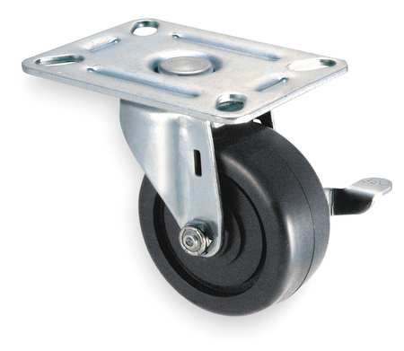 Swivel Plate Caster, Poly, 2-1/2 in, 175 lb, C