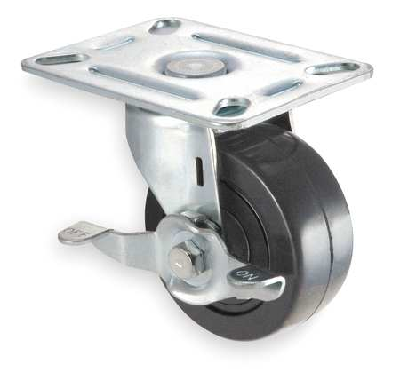 Swivel Plate Caster, Phenolic, 4 in., 450 lb.