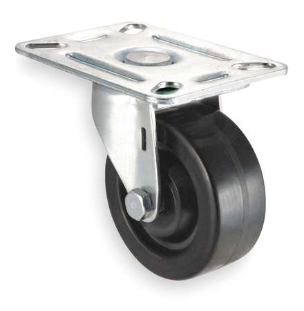 Swivel Plate Caster, Phenolic, 3 in., 250 lb, A