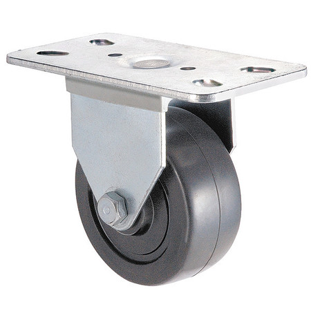 Rigid Plate Caster, Rubber, 2 in., 100 lb.