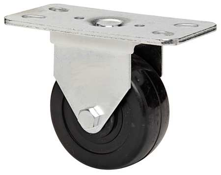 Rigid Plate Caster, Rubber, 3 in., 210 lb, A