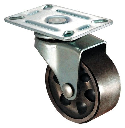 Swivel Plate Caster, Cast Iron, 3 in, 250 lb, Gry