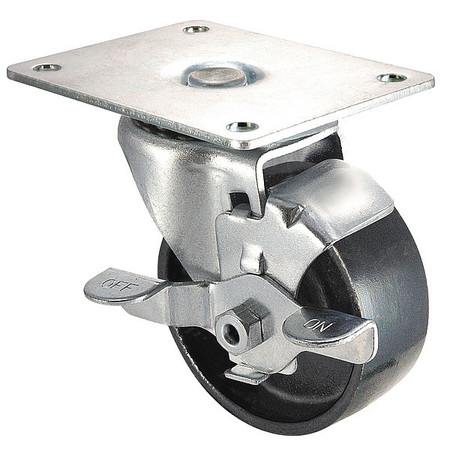 Swivel Plate Caster, Cast Iron, 4 in, 450 lb, Blk