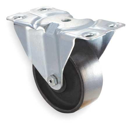 Rgd Plate Castr, Cast Irn, 4 in, 450 lb, Blk