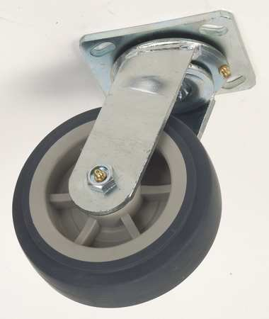 Swivel Plate Caster, Therm Rubber, 6 in, 450 lb, Gry