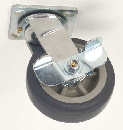Swivel Plate Caster, Therm Rubber, 5 in, 400 lb