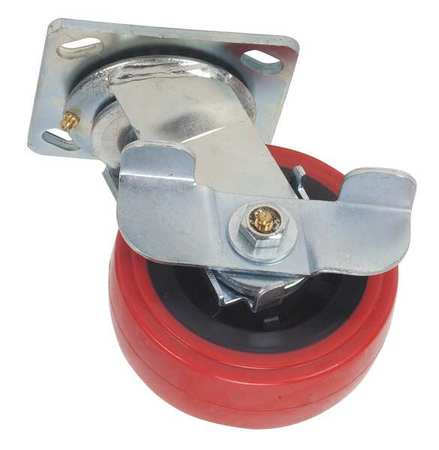 Swivel Plate Caster, Poly, 5 in., 750 lb, Rd