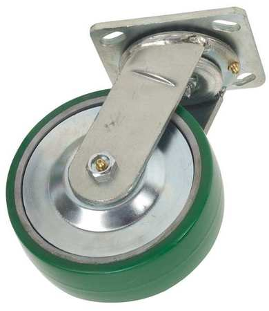 Swivel Plate Caster, Poly, 8 in., 1400 lb.