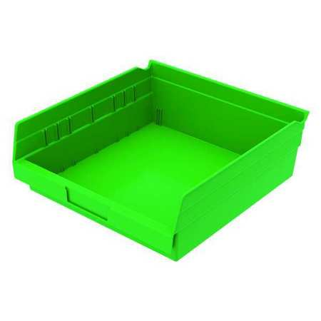 Shelf Bin, 11-5/8 In. L, 4 In. H, Green