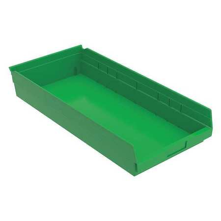 Shelf Bin, 23-5/8 In. L, 4 In. H, Green