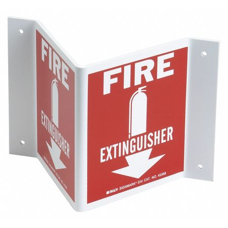 Fire Extinguisher Sign, 5-1/2 x 10In, FEXT