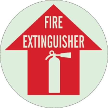 Fire Extinguisher Sign, 17 x 17In, WHT/R