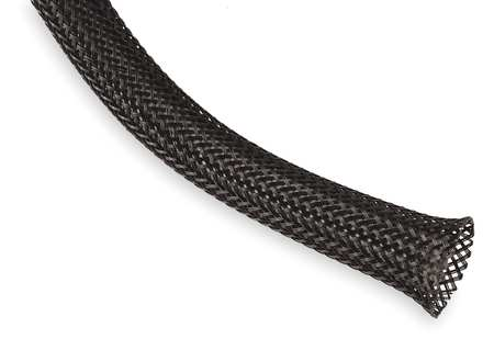 Braided Sleeving, 1.250 In., 50 ft., Black
