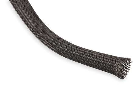 Braided Sleeving, 1.000 In., 50 ft., Black