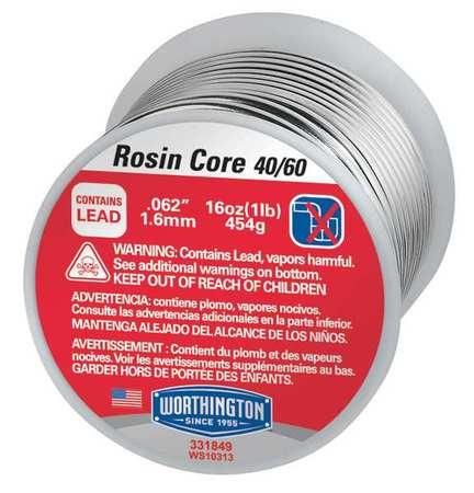 Rosin Core Solder, Dia 0.062 In, 1lb