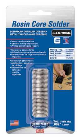 Lead Free Solder, Dia 0.062 In, 1 oz