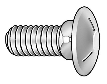 Carriage Bolt, Zinc, 3/8-16x1L, Pk100