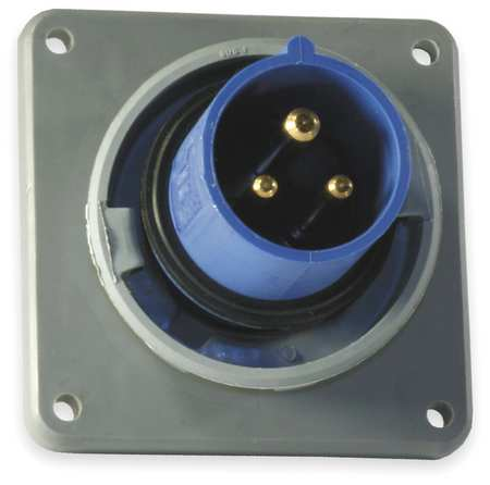 IEC Pin and Sleeve Inlet, 20A, 250V, Blue