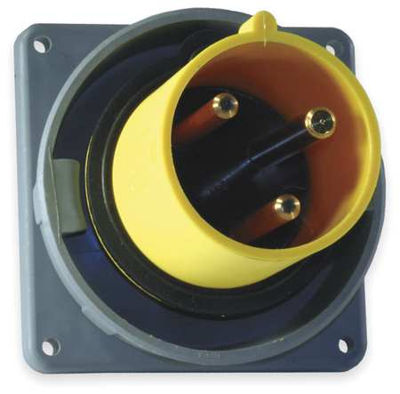 IEC Pin and Sleeve Inlet, 60A, 125V, Yellow