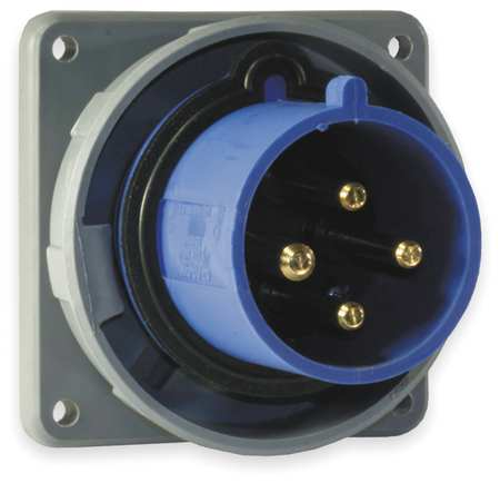 IEC Pin and Sleeve Inlet, 60A, 250V, Blue