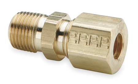"3/8"" Compression x 1/8"" MNPT Brass Connector 10PK"