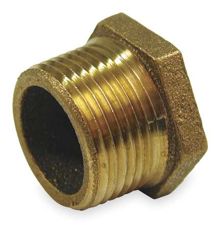 "2"" MNPT x 1-1/2"" FNPT Red Brass Hex Bushing"