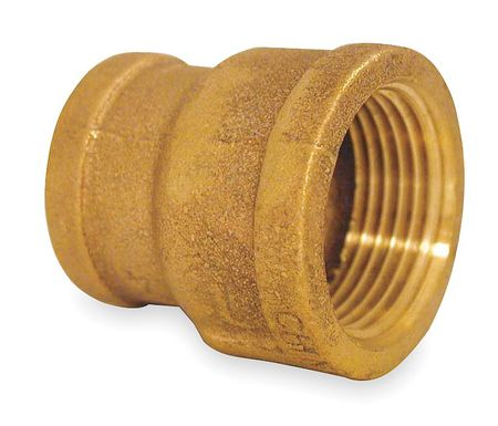"3/4"" x 1/2"" FNPT Red Brass Reducing Coupling"