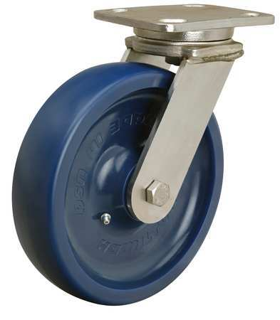 Plate Caster, Swivel, Poly, 8 in., 1500 lb., B
