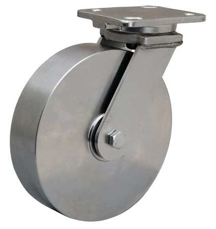 Plate Caster, Swivel, SS, 8 in., 1600 lb.