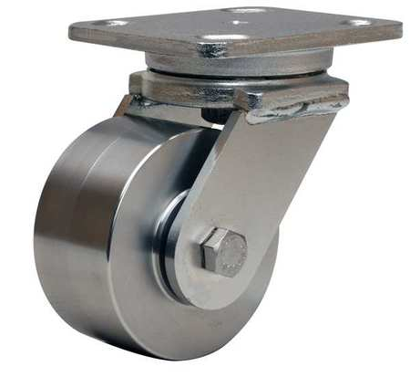 Plate Caster, Swivel, SS, 4 in., 850 lb., Blu