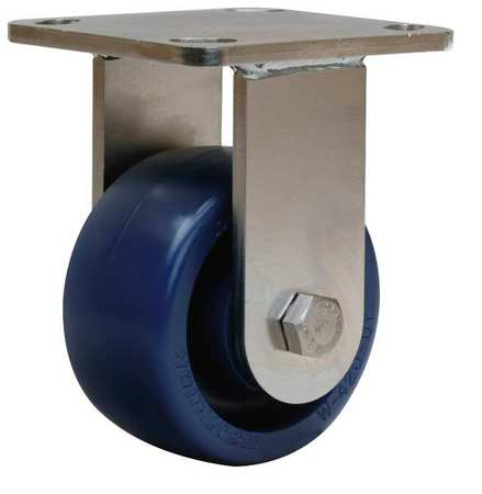Plte Caster, Rgd, Poly, 4 in., 750 lb., Blu