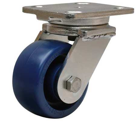 Plate Caster, Swivel, Poly, 4 in., 750 lb., Blu