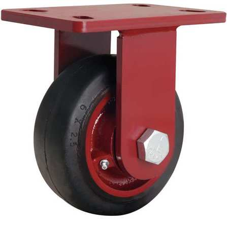 Plte Caster, Rigid, Rubber, 6 in., 540 lb.