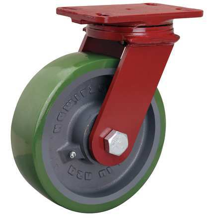Plate Caster, Swivel, Poly, 8 in., 2000 lb., A