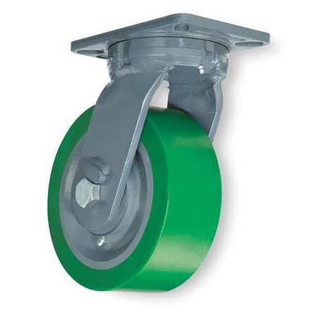 Kingpinless Plate Caster, Swivel, Poly, 6 in, 2200 lb