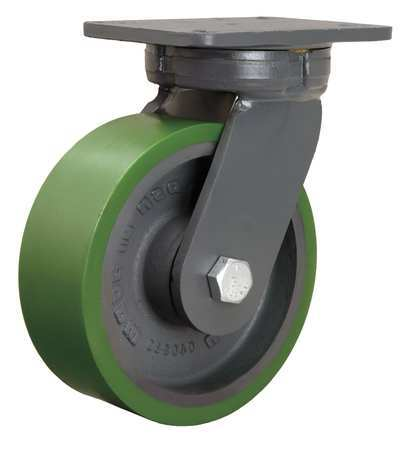 Plate Caster, Kingpinless Swivel, Poly, 8 in, 2500 lb