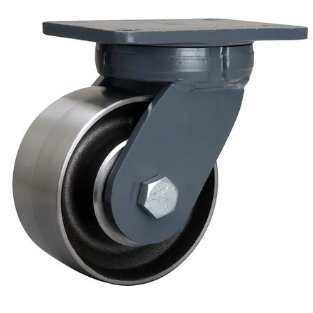 Kingpinless Plate Caster, Swivel, Steel, 6 in, 6000 lb.