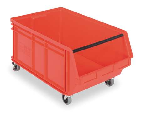 Mobile Bin, 29 In. L, 18-3/8 In. W, Red